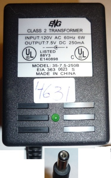 ENG 35-7-5-250B AC ADAPTER 7.5V 250MA POWER SUPPLY PLUG IN CLASS