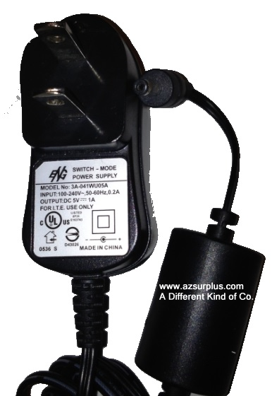 ENG 3A-041W05A AC ADAPTER 5VDC 1A Used -(+)- 1.5 x 3.4 x 10 mm S