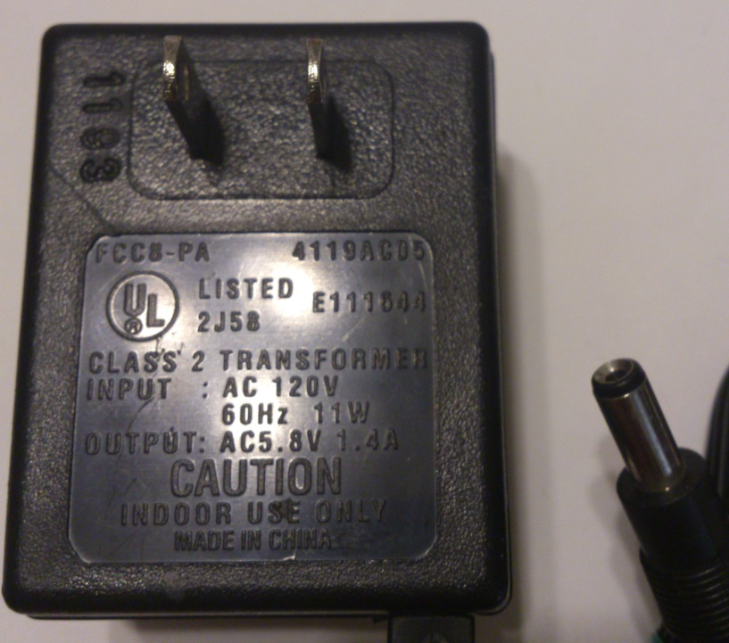 EVEREADY 4119AC05 AC ADAPTER 5.8V 1.4A USED 2x5.5x12.8mm