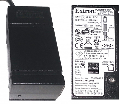 EXTRON 28-071-57LF AC ADAPTER +12V DC 1A USED 2PIN POWER SUPPLY