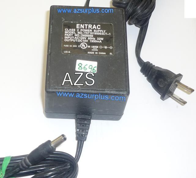 Entrac T5710195003CT-1 AC ADAPTER 10VDC 1950mA USED -(+) 2x5.5mm