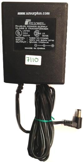FELLOWES 1482-12-1700D AC ADAPTER 12VDC 1.7A USED 90° -(+) 2.5x5