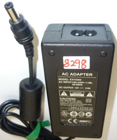 EA10362 AC ADAPTER 12VDC 3A USED -(+) 2.5x5.5mm ROUND BARREL