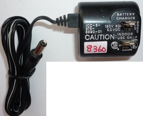 ICC-5-375-8890-01 AC ADAPTER 5VDC .75W USED -(+) 2x5.5mm BATTER