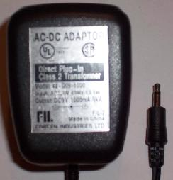 FOREEN INDUSTRIES 48-D09-1000 AC DC ADAPTER 9V 1000mA