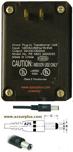 FWHK FE 4823 240D030 AC Adapter 24v 300mA Plug-In Transformer Po