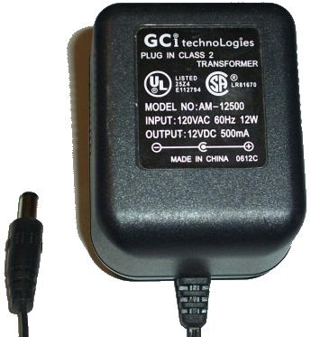 GCI TECHNOLOGIES AM-12500 AC ADAPTER 12VDC 500mA USED -(+) 2.5m