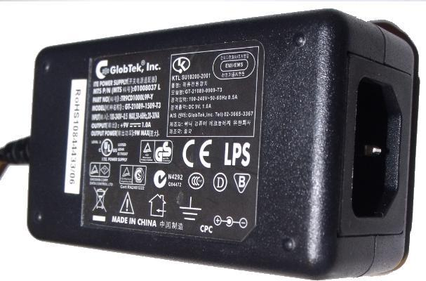 GLOBTEK GT-21089-1305-T3 AC ADAPTER 5V DC 2.6A -(+) 2.3x5.4mm