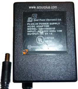 GOOD POWER ELECTRONICS GP4106001D AC ADAPTER 6V 1A 14W