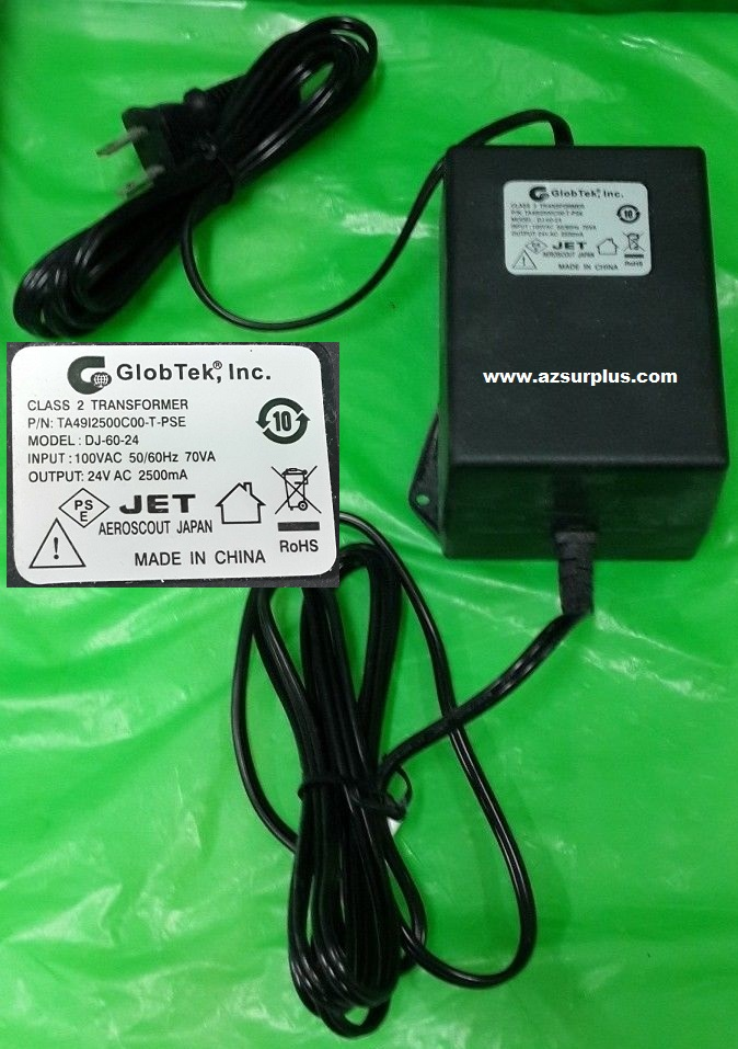 GlobTek DJ-60-24 AC Adapter 24vac 2.5A CLASS 2 TRANSFORMER 100VA