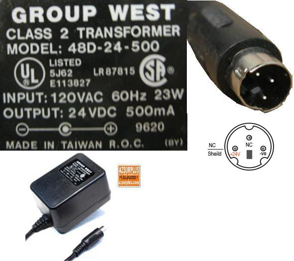 Group West 48D-24-500 AC Adapter 24VDC 500mA 3Pin 120vac 9mm Din