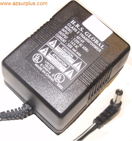 H.R.S GLOBAL AD16V AC ADAPTER 16VAC 500mA Used 90 Degree Right