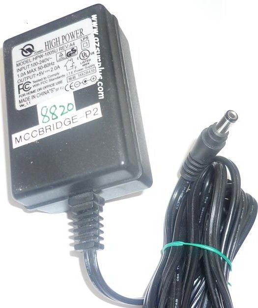 HIGH POWER HPW-1005U AC ADAPTER +5VDC 2A USED -(+) 2.5x5.5x10.2m