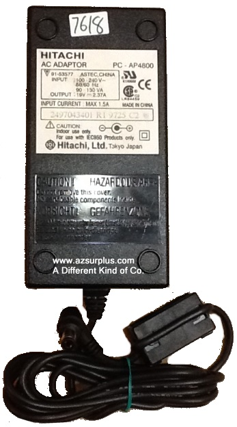 HITACHI PC-AP4800 AC ADAPTER 19VDC 2.37A Used -(+)- 1.9 x 2.7 x