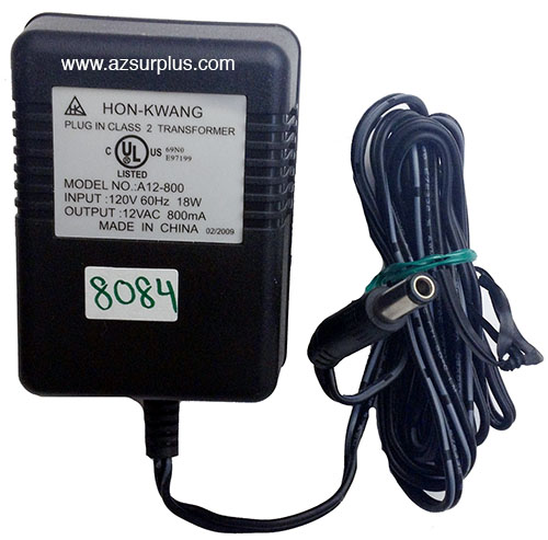 HON-KWANG A12-800 AC ADAPTER 12VAC 800mA USED 2.5x5.5mm STRAIGHT
