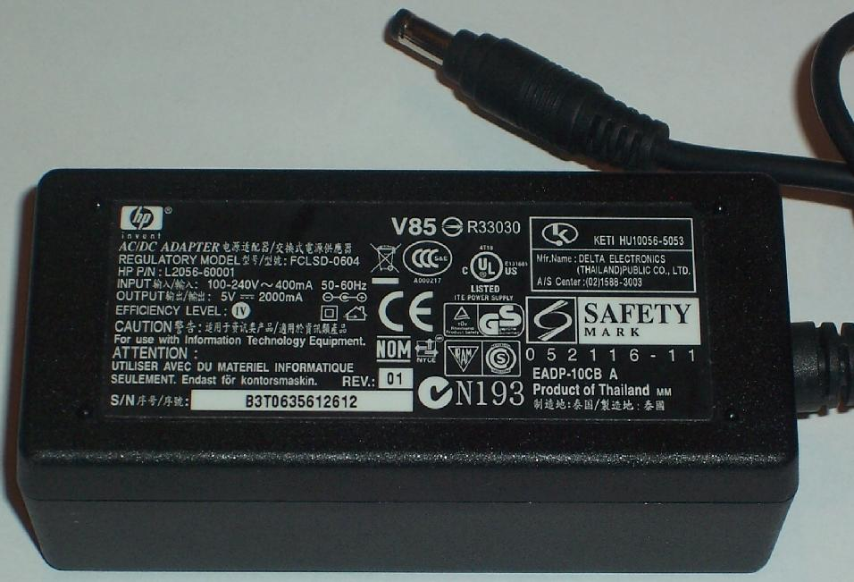 HP FCLSD-0604 AC ADAPTER 5VDC 2000mA USED -(+) 1.7x4mm ROUND BAR