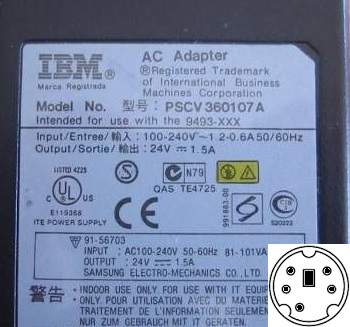 IBM PSCV360107A AC ADAPTER 24VDC 1.5A USED 5 Pin Mini Din