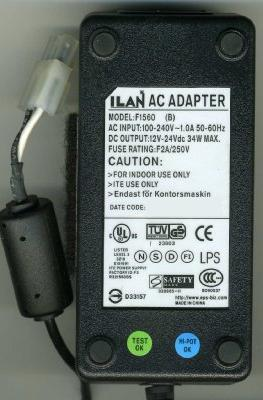 ILAN F1560(B) AC ADAPTER 12VDC 2.8A 2Pin Molex 34W POWER SUPPLY