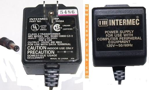 INTERMEC W48D-10800-CZ/2 AC ADAPTER 10VDC 8W POWER SUPPLY