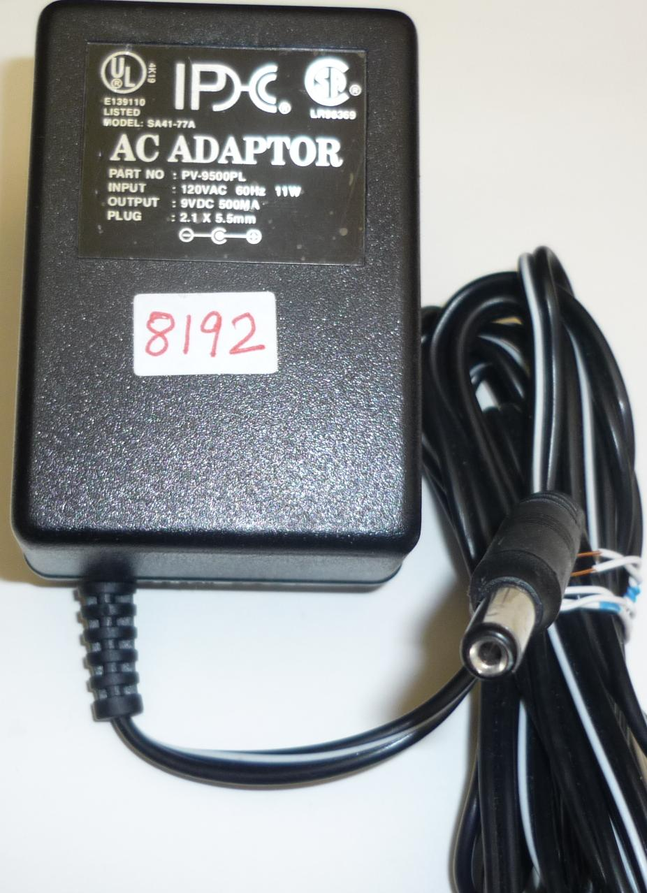 IPDC SA41-77A AC ADAPTER 9VDC 500MA -(+) 2.1x5.5mm ROUND BARREL