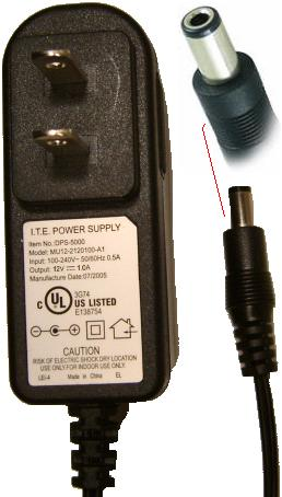 I.T.E. DPS-5000 AC ADAPTER 12VDC 1A SWITCHING POWER SUPPLY