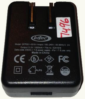 Intec GFP051-0510-1 Ac Adapter 5V DC 1000mA Used USB Connector