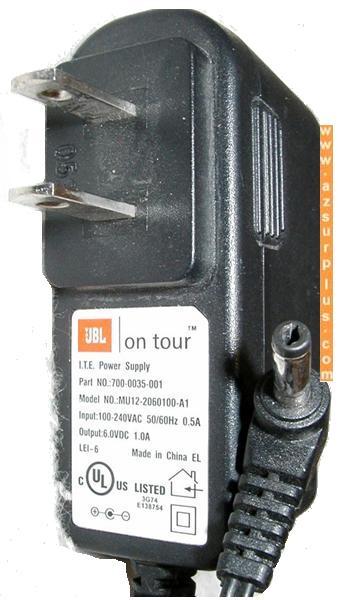 JBL ON TOUR MU12-2060100-A1 AC ADAPTER 6V 1A SWITCHING POWER SUP