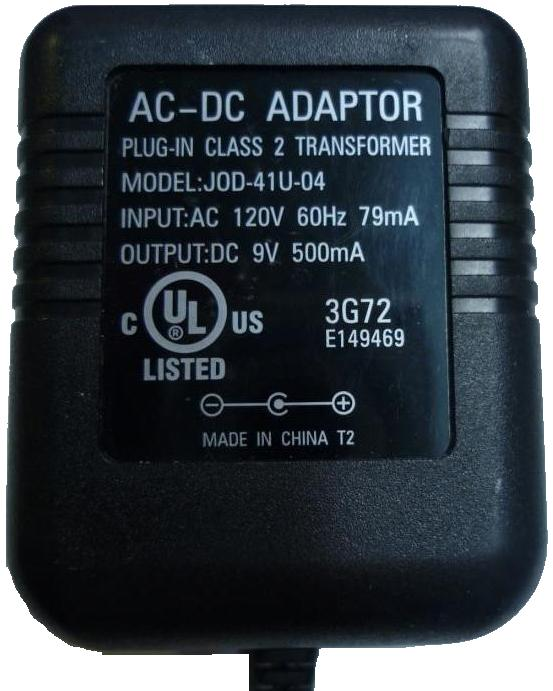 JOD-41U-04 AC ADAPTER 9V 500mA PLUG IN CLASS 2 TRANSFORMER