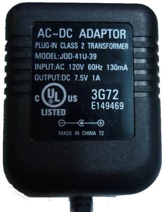 JOD-41U-39 AC DC ADAPTER 7.5V 1A PLUG IN CLASS 2 TRANSFORMER