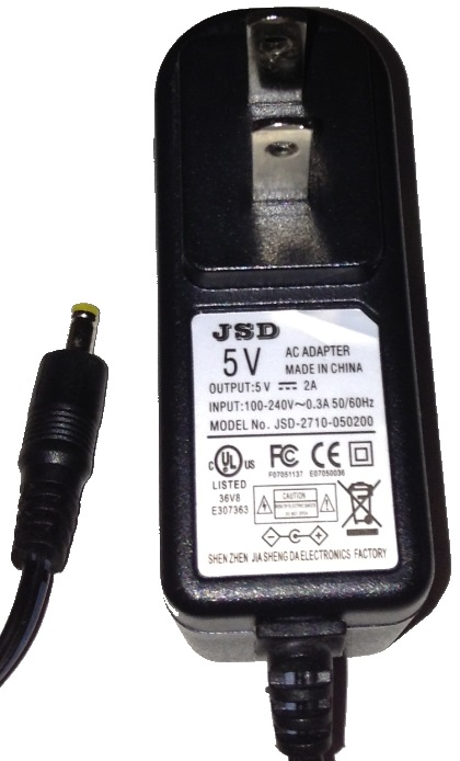 JSD JSD-2710-050200 AC ADAPTER 5V DC 2A USED 1.7x4x8.7mm