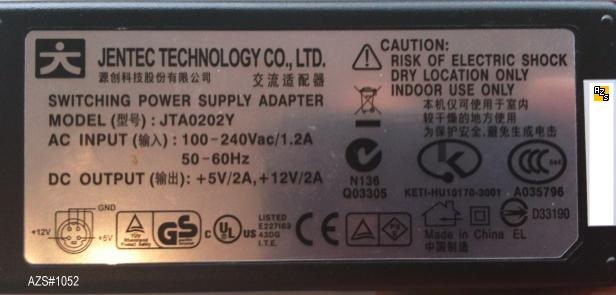 JENTEC JTA0202Y AC Adapter 5V DC 12V DC 2A (:_:) 4pin 9mm USED