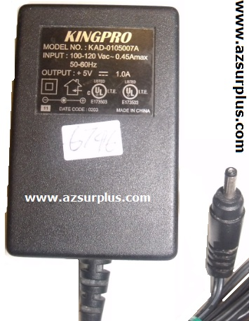 KINGPRO KAD-0105007A AC ADAPTER 5VDC 1A Used 1.2 x 3.7 x 9.4 mm