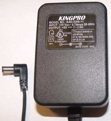 KINGPRO KAD-0306-11 AC ADAPTER 5VDC 2.5A WALLMOUNT DIRECT PLUG