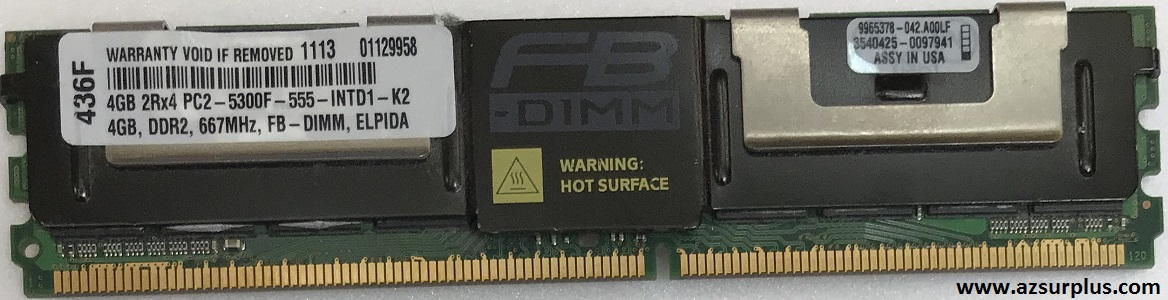 KINGSTON 9965378042A00LF 4GB 2RX4 PC25300F FULLY BUFFERED ECC