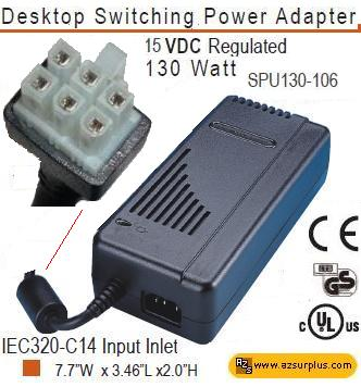 LEITCH SPU130-106 AC ADAPTER 15VDC 8.6A 6Pin 130W SWITCHING POW