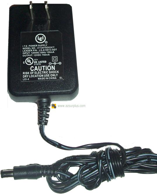LEI 4112075003CT AC ADAPTER 12VDC 750mA Used -(+) 2.5x5.5mm I.T.
