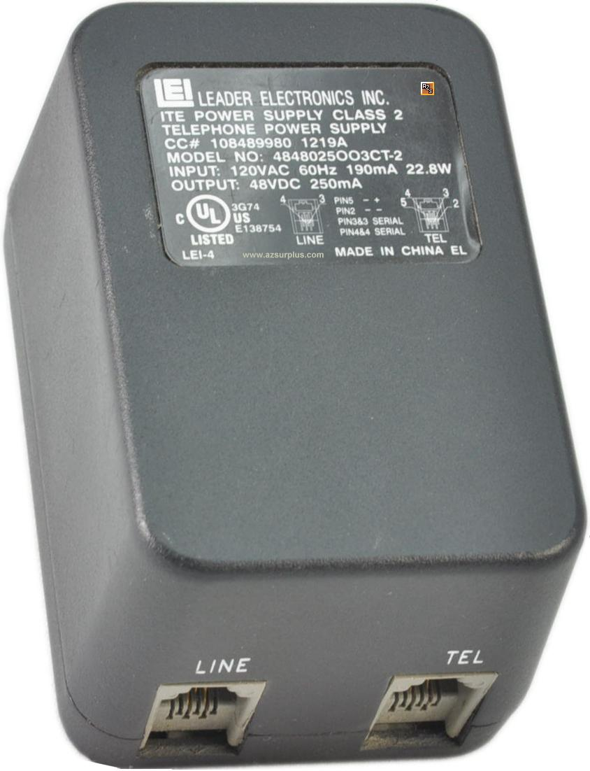 LEI 4848025OO3CT-2 48VDC 0.25A Telephone Power Supply Class 2