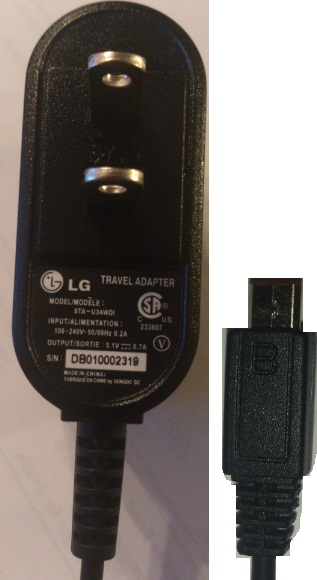 LG STA-U34WDI AC ADAPTER 5.1V DC 0.7A USED PHONE CHARGER