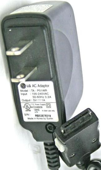 LG TA-P01WR AC ADAPTER 5VDC 1A POWER SUPPLY USED CELL PHONES
