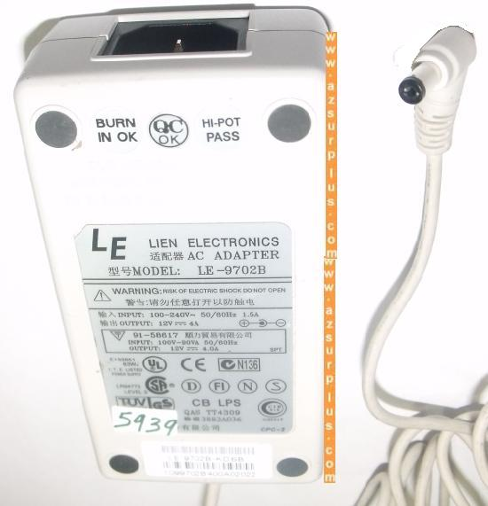 LIEN LE-9702B AC ADAPTER 12V 4A USED -(+) 2x5.5mm POWER SUPPLY