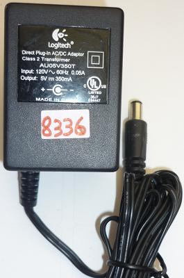 LOGITECH AUO5V35OT AC ADAPTER 5VDC 350mA USED +(-) 2x5.5mm ROUND