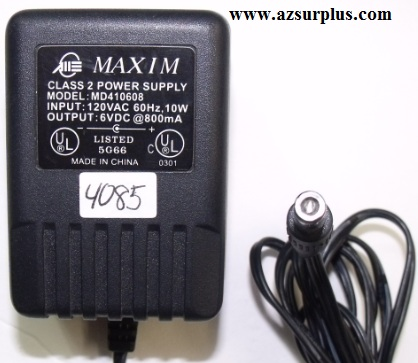 MAXIM MD410608 AC ADAPTER 6VDC 800mA Used 3.1x5.5mm round barrel