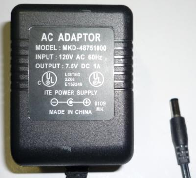 MKD-48751000 AC ADAPTER 7.5VDC 1A POWER SUPPLY