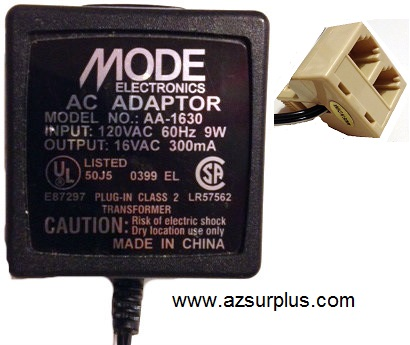MODE AA-1630 AC ADAPTER 16V 300mA USED PHONEJACK CONNECTOR PLUG