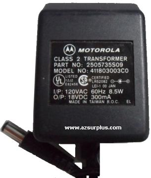 MOTOROLA 2505735S09 AC ADAPTER 18VDC 300mA POWER SUPPLY
