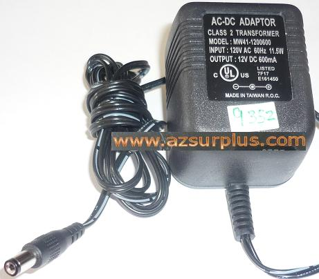 MW41-1200600 AC ADAPTER 12VDC 600mA USED -(+) 2x5.5x9mm ROUND BA