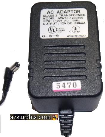 MW48-1200800 AC ADAPTER 12VDC 800mA CLASS 2 TRANSFORMER