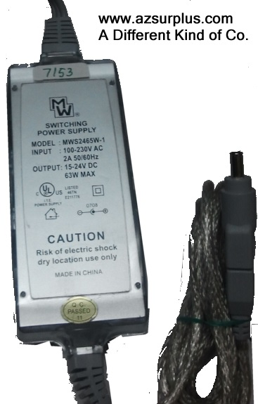 MW MWS2465W-1 AC ADAPTER 15-24VDC 63W Used Straight Round Barrel