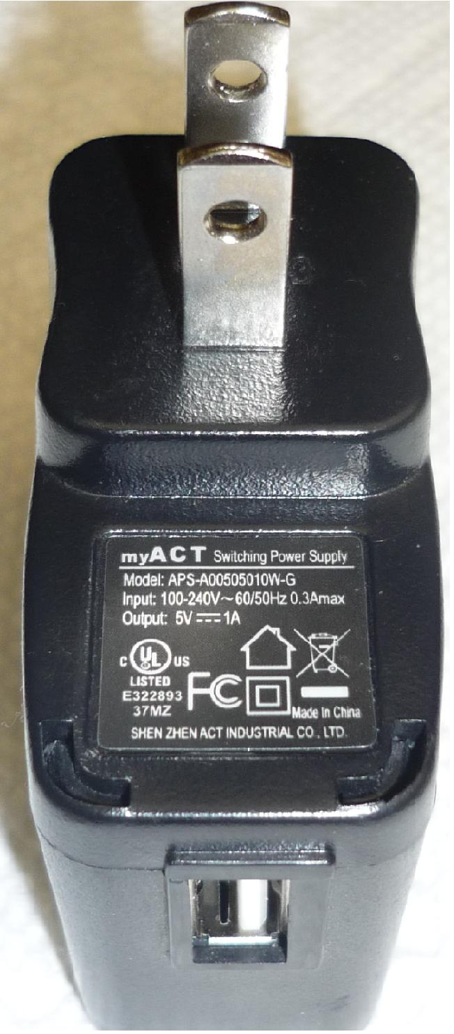MY ACT SHEN ZEN APS- A00505010W-G AC ADAPTER USED 5VDC 1A USB SI