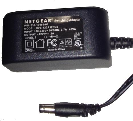 NETGEAR DVS-120A12FUS AC ADAPTER +12VDC 1.2A Used 2.3x5.5mm -(+)